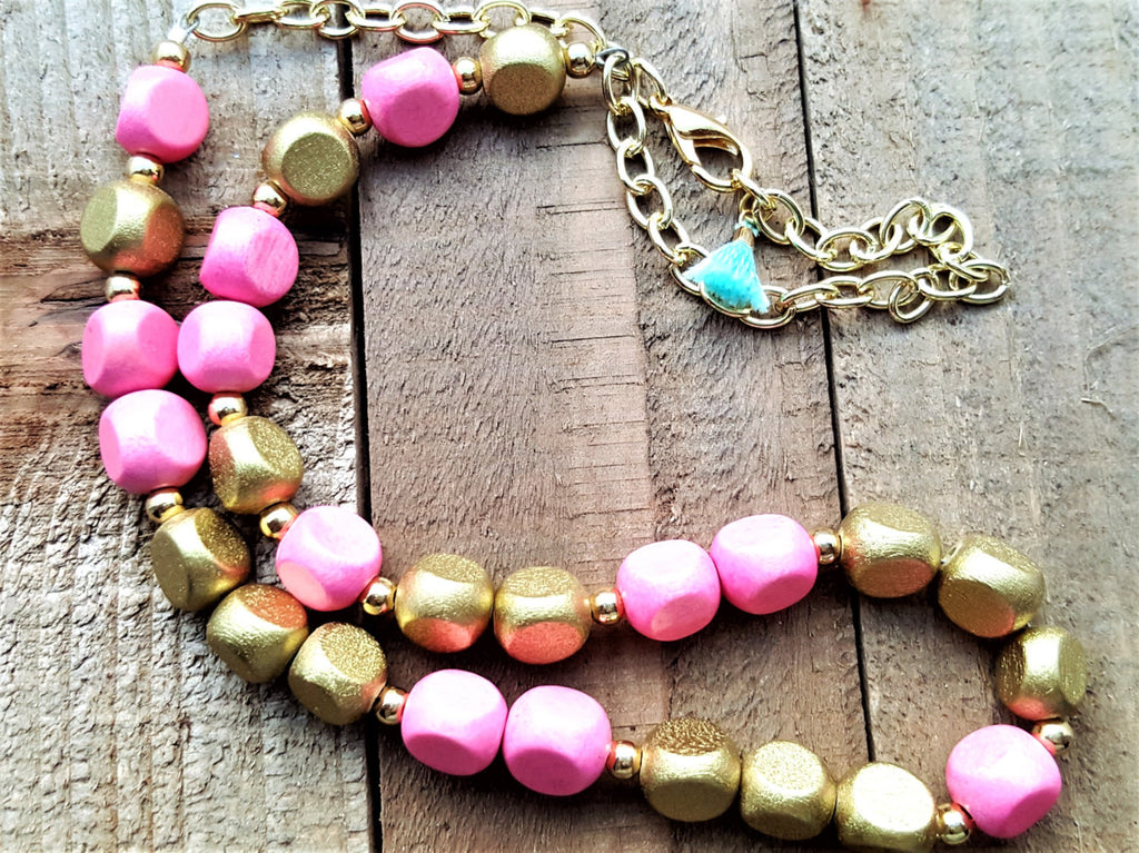 Pink Gold Beaded Necklace - ChristalDreamZ