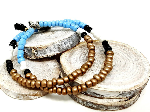 Blue Bronze Beaded Necklace/Bracelet - ChristalDreamZ