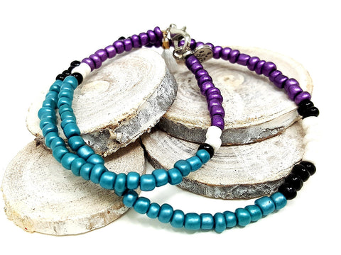 Purple Teal Gypsy Wrap Necklace/Bracelet - ChristalDreamZ