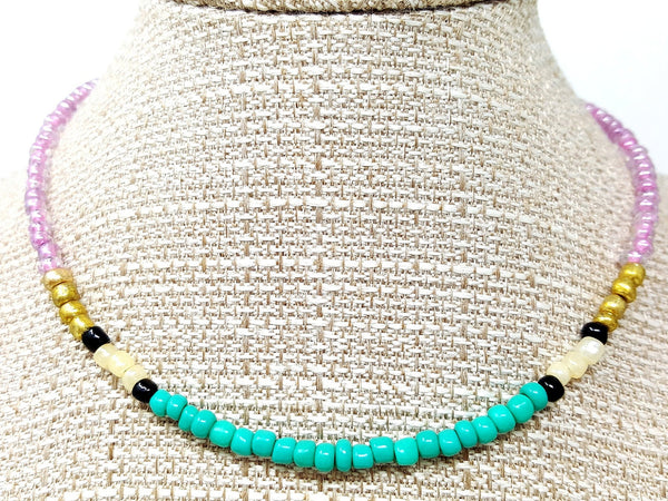 Turquoise Purple Beaded Choker Necklace - ChristalDreamZ