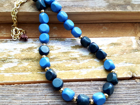 Blue Gold Wood Beaded Necklace