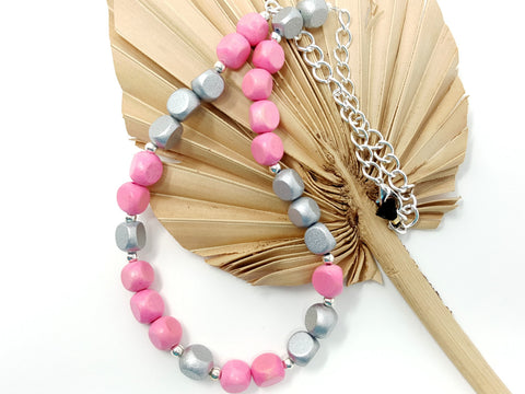 Pink Silver Beaded Necklace - ChristalDreamZ