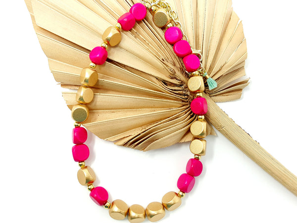 Hot Pink and Gold Short Beaded Necklace - ChristalDreamZ