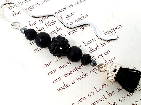 Black Beaded Bookmark - ChristalDreamZ