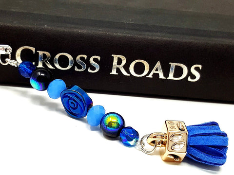 Blue Beaded Flower Bookmark - ChristalDreamZ