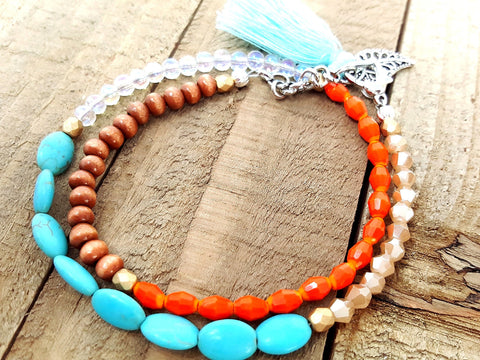 Turquoise Orange Beach Beaded Choker or Bracelet - ChristalDreamZ