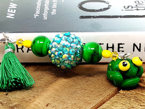 Green Yellow Frog Beaded Bookmarks - ChristalDreamZ
