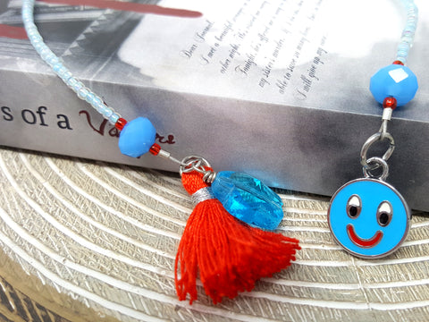Childrens Blue Smiley Face Beaded Bookmark