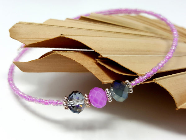 Purple Beaded Choker - ChristalDreamZ