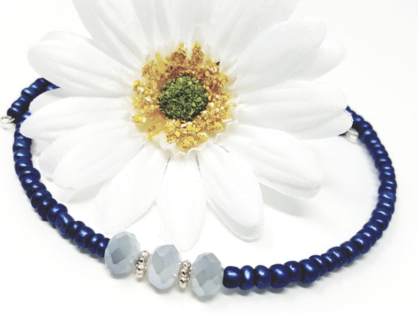 Blue Seed Bead Choker Necklace - ChristalDreamZ