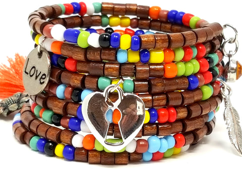 Rainbow Wood Chunky Beaded Bracelet - ChristalDreamZ