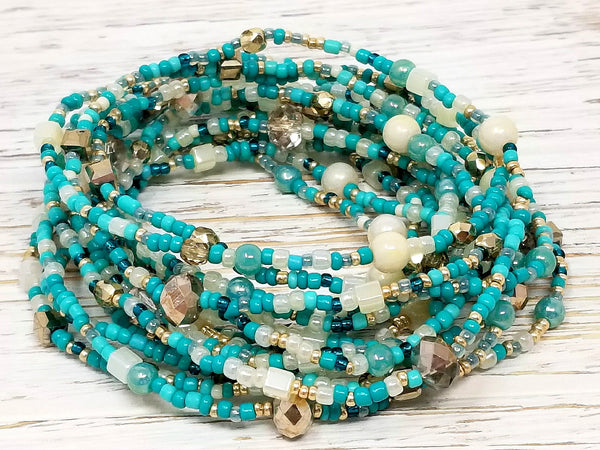 Turquoise Gold Seed Bead Wrap Bracelet/Necklace - ChristalDreamZ