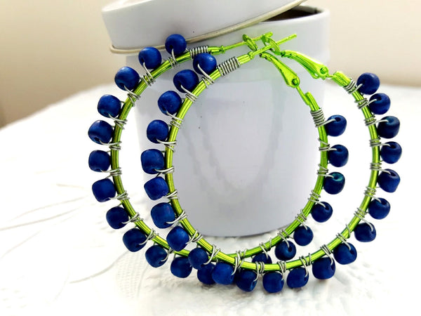 Lime Green Navy Blue Hoop Earrings - ChristalDreamZ