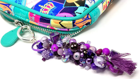 Purple Beaded Keychain/Bag Charm Planner Accessory - ChristalDreamZ