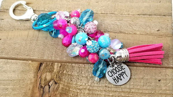 Hot Pink Blue Beaded Purse Planner Charm Accessory - ChristalDreamZ