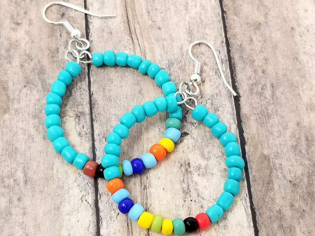 Small Turquoise Rainbow Beaded Hoop Earrings - ChristalDreamZ