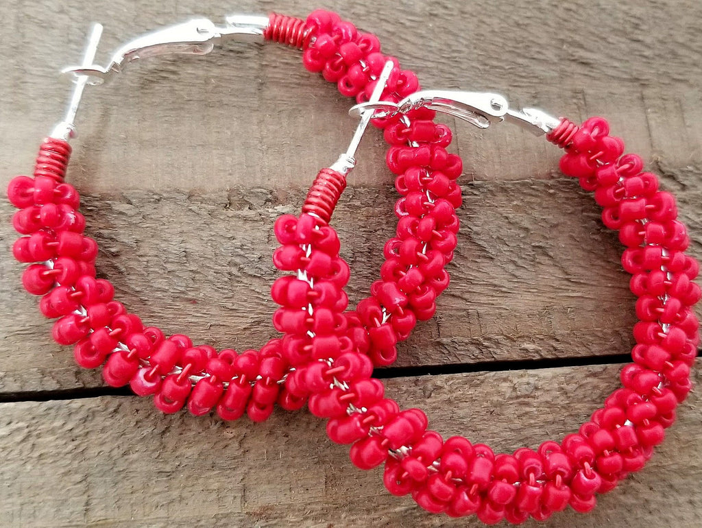 Red Beaded Hoop Earrings - ChristalDreamZ