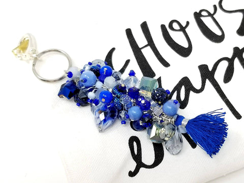 Blue Beaded Back Pack, Planner Purse Charm - ChristalDreamZ