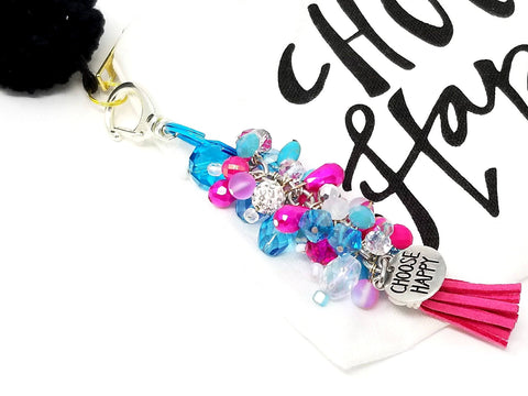 Hot Pink Blue Beaded Purse/Planner Charm