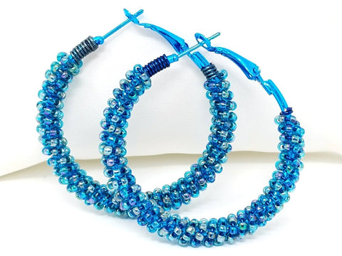 Blue Beaded Hoop Earrings - ChristalDreamZ