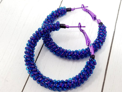Purple Blue Statement Hoop Earrings - ChristalDreamZ