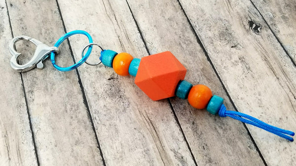 Orange Teal Beaded Keychain Purse Planner Charm - ChristalDreamZ