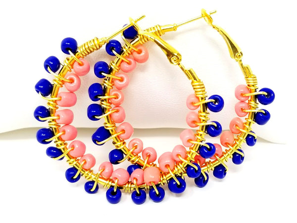 Royal Blue Coral Beaded Hoop Earrings - ChristalDreamZ