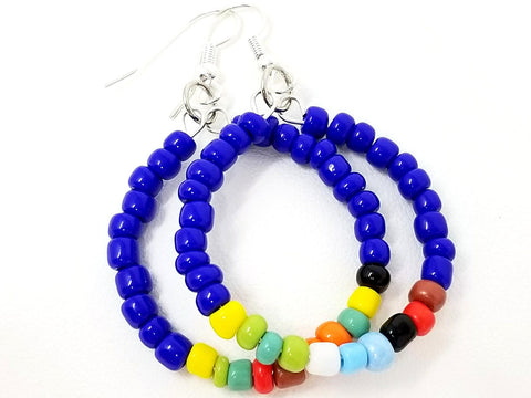 Blue Rainbow Mix Beaded Hoop Earrings - ChristalDreamZ