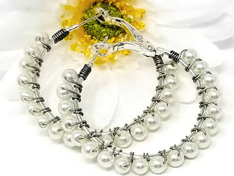 White Faux Pearl Hoop Earrings - ChristalDreamZ
