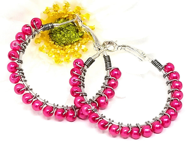 Hot Pink Faux Pearls Beaded Hoops - ChristalDreamZ