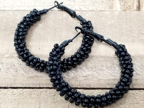 Black Beaded Hoop Earrings - ChristalDreamZ