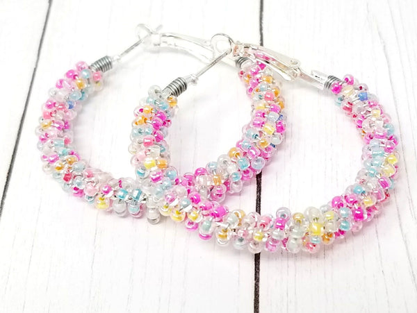 Pastel Rainbow Hoop Earrings - ChristalDreamZ