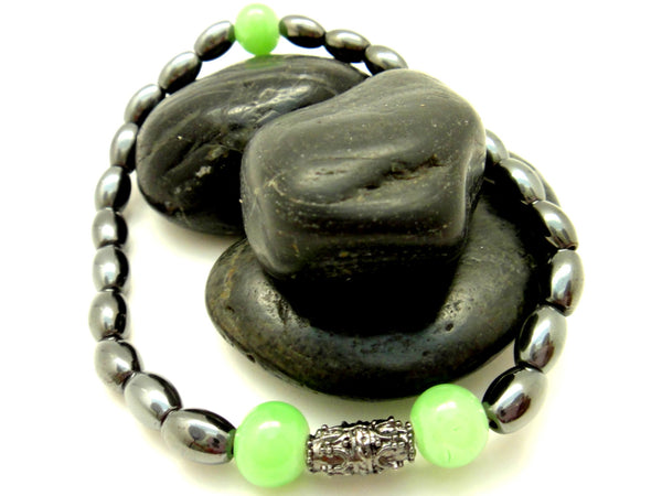 Lime Green Hematite Mens Beaded Bracelet - ChristalDreamZ