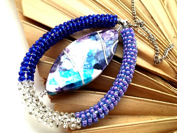 Purple Beaded Statement Necklace - ChristalDreamZ