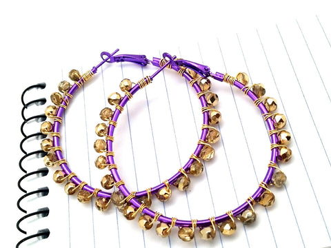 Purple Gold Bead Earrings - ChristalDreamZ