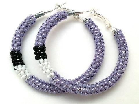Beaded Hoop Earrings Black White Purple Spring Summer Hoops Contemporary Jewelry Wire Wrap Hoops  Gifts for Her Purple Colour Hoops