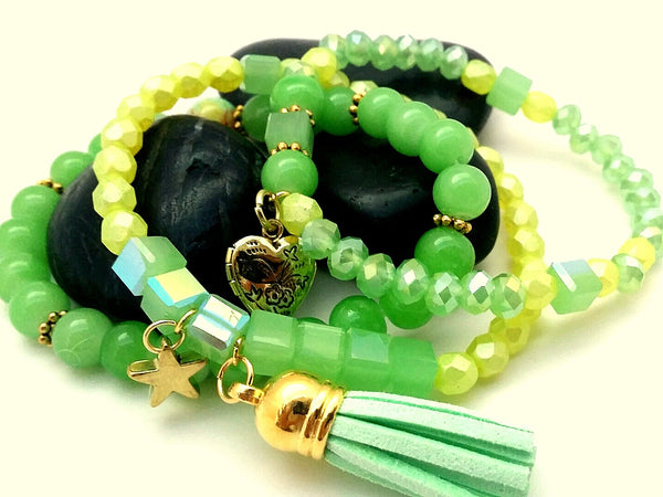 Yellow & Green Bead Stretch Bracelets - ChristalDreamZ