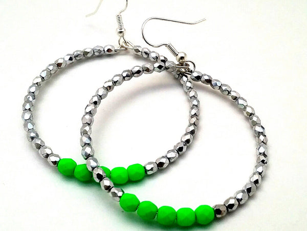 Neon Green Hoop Earrings - ChristalDreamZ