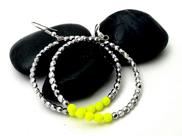 Neon Yellow Retro Hoop Earrings - ChristalDreamZ