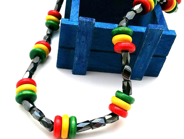 Red Green Yellow Beaded Necklace, Rasta Inspired Gift for Him Her, Short Choker Style Magnetic Hematite Unisex Necklace, Back to School Gift - ChristalDreamZ
