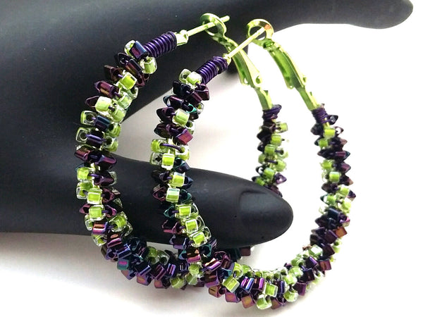 Lime Purple Beaded Hoop Earrings - ChristalDreamZ