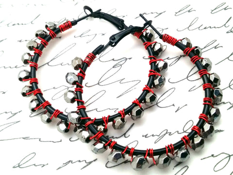 Black Silver Bead Hoop Earrings - ChristalDreamZ