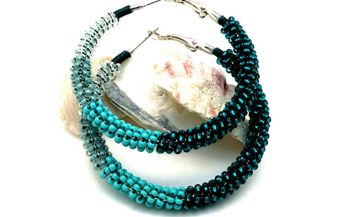 Turquoise Ombre Bead Hoop Earrings - ChristalDreamZ