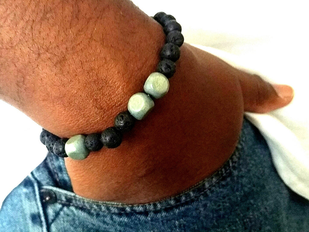 Black Wood Gray Lava Rock Beaded Bracelet - ChristalDreamZ