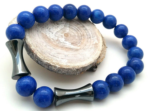 Blue Jade Beaded Bracelet - ChristalDreamZ