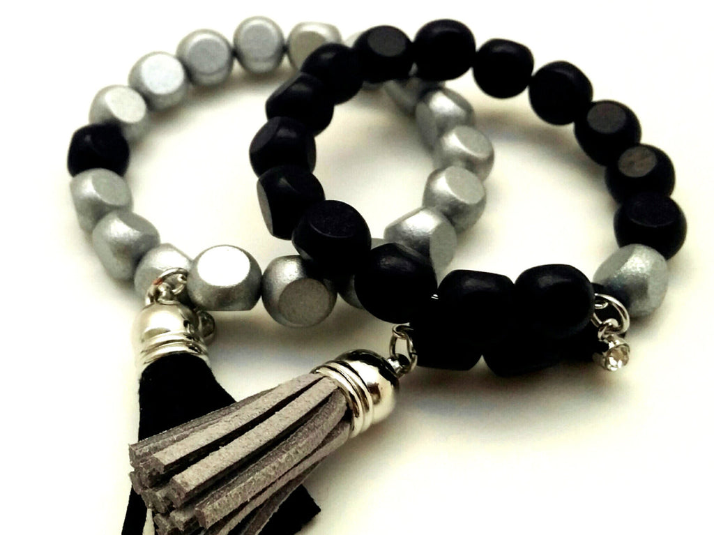 Black Silver Wood Bead Bracelet Set - ChristalDreamZ