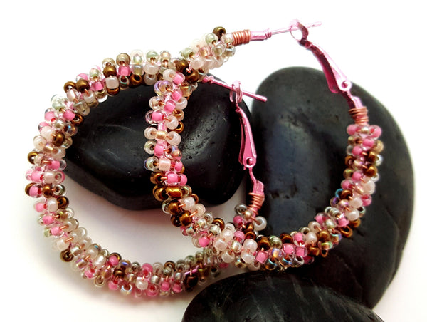Pink Brown Mix Beaded Hoop Earrings - ChristalDreamZ