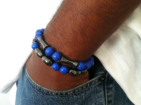 Royal Blue Jade Beaded Bracelet - ChristalDreamZ