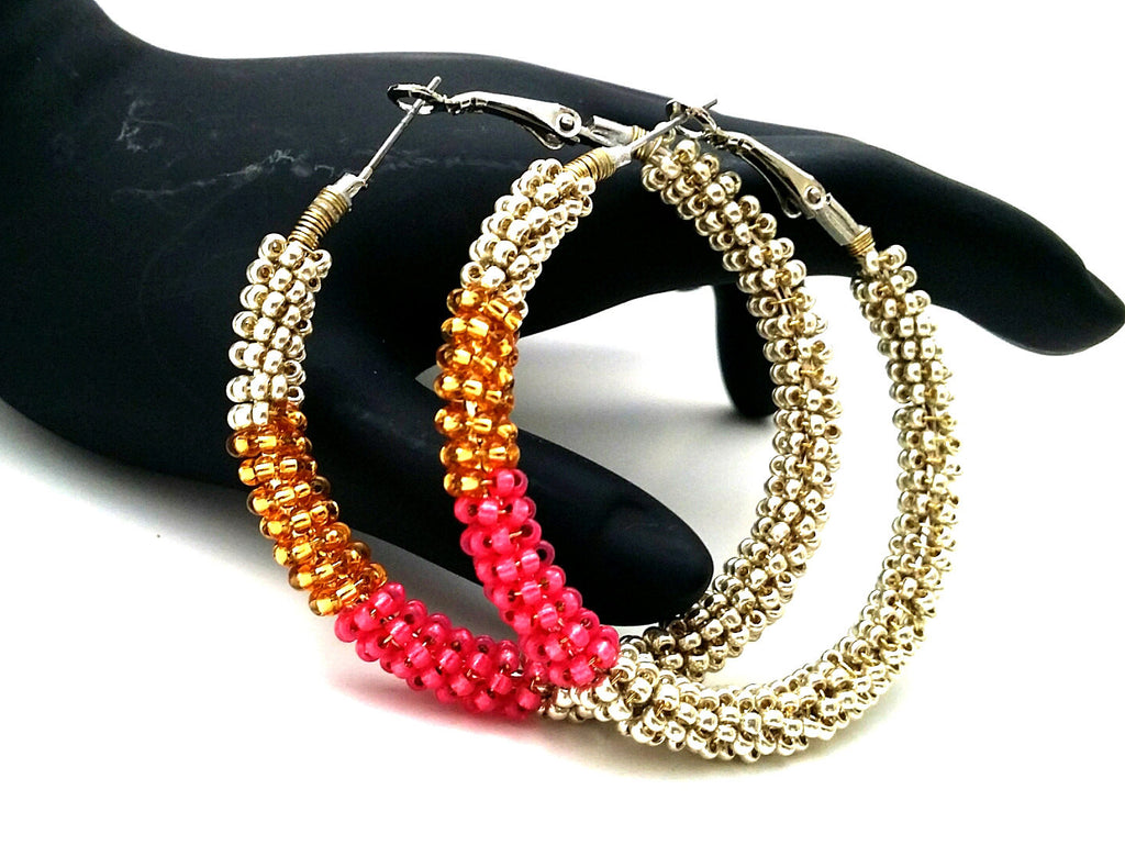 Pink Gold Beaded Hoop Earrings - ChristalDreamZ