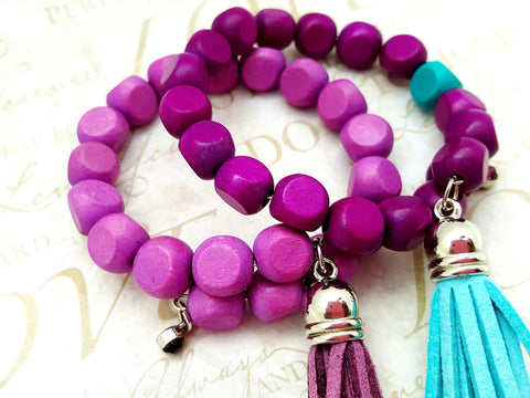 Purple Teal Wood Bead Bracelet Set - ChristalDreamZ